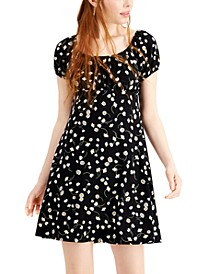 Juniors' Floral-Print Babydoll Dress