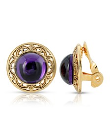 Gold Tone Purple Stone Round Button Clip Earring