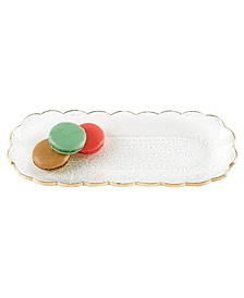Hand Decorated Leaf Scalloped Edge Oval Glass Platter