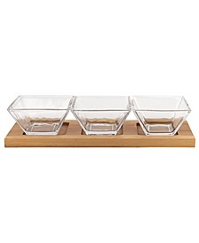 Hostess Set 4 Piece with 3 Glass Condiment or Dip Bowls on A Wood Tray