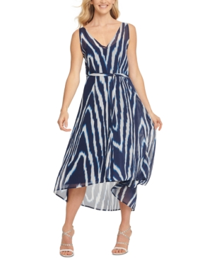 Dkny Sleeveless High Low Dress In Ink Multi