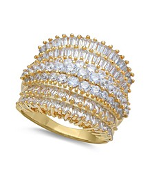 Cubic Zirconia Multi Row Princess, Baguette & Pave Band (4-1/5 ct. t.w.) in Sterling Silver or 18k Gold over Silver