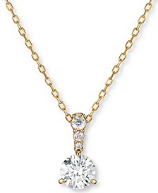 "Gold-Tone Crystal Solitaire Pendant Necklace, 14-7/8"" + 2"" extender"