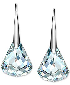 Silver-Tone Faceted Crystal Teardrop Earrings