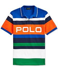Big Boys Striped Cotton Mesh Polo