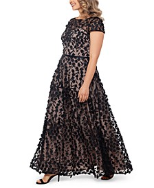 Plus Size 3D-Flower Gown