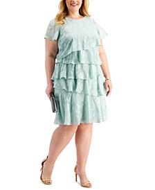 Plus Size Laser-Cut Ruffle Dress