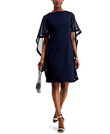 Crepe Cape Sheath Dress