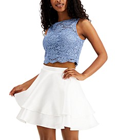 Juniors' 2-Pc. Lace Ruffled Fit & Flare Dress