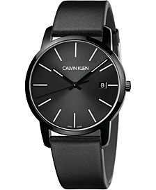 Men's City Black Leather Strap Watch 43mm