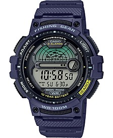 Men's Digital Fishing Gear Blue Resin Strap Watch 47mm