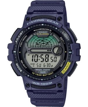 Men's Digital Fishing Gear Blue Resin Strap Watch 47mm