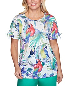Petite Costa Rica Floral-Print Ruched-Sleeve Top