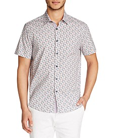 Men's Slim Fit Stretch Floral Print Short Sleeve Shirt