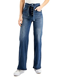 Exposed-Button Wide-Leg Jeans
