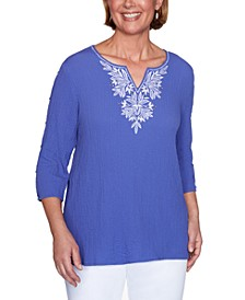 Petite Costa Rica Textured Embroidered Top