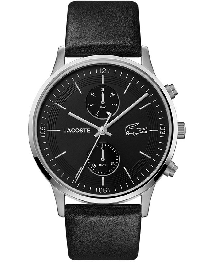 Lacoste - Men's Chronograph Madrid Black Leather Strap Watch 43mm
