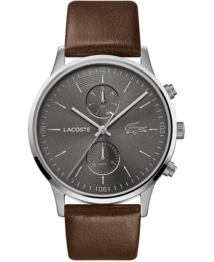 Lacoste - Men's Chronograph Madrid Brown Leather Strap Watch 43mm