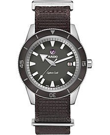 Men's Swiss Automatic Captain Cook Black Fabric Strap Diver Watch 42mm