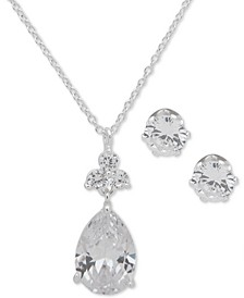 Silver-Tone 2-Pc. Set Crystal Pendant Necklace and Complementing Stud Earrings