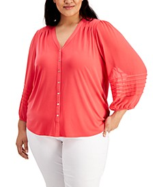 Plus Size Button-Down V-Neck Top