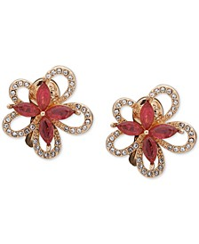 Crystal Flower Button Clip-On Earrings
