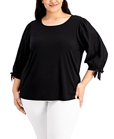Plus Size Eyelet-Sleeve Top