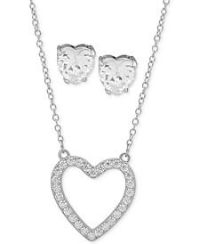 "Silver-Tone Heart Crystal Stud Earrings & Pendant Necklace, 16"" + 3"" extender"