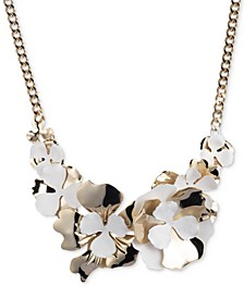 """Two-Tone Flower Statement Necklace, 16"""" + 3"""" extender"""