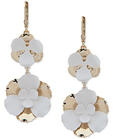 Two-Tone Flower Double Drop Earrings