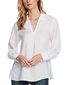 Petite Linen Split-Neck Top