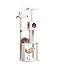 Cat Tree, 4 Levels with Rope Swing, Hammock, Condo and Perch