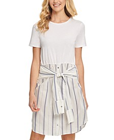Striped Tie-Waist T-Shirt Dress