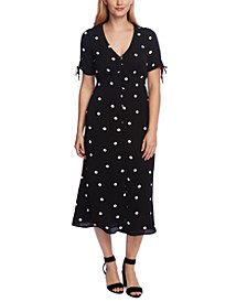 Petite Polka-Dot Button-Down Midi Dress