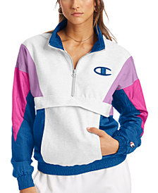 Champion Women's Colorblocked Mixed-Media Half-Zip Jacket