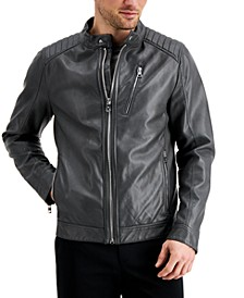 Men's Faux Leather Moto Jacket, Created for Macy's