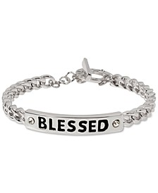 Silver-Tone Pavé Blessed Link Bracelet