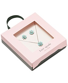"Flower Stud Earrings & Pendant Necklace Set, 17"" + 3"" extender"