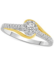 Diamond Halo Two-Tone Engagement Ring (1/3 ct. t.w.) in 14k Gold & White Gold