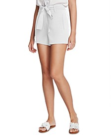 Textured Crepe Belted Shorts