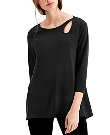 Keyhole-Cutout 3/4-Sleeve Top, Created for Macy's