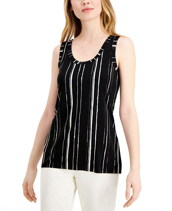 Alfani Petite Striped Sleeveless Top, Created for Macy's