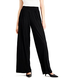 Petite Pleated Plissé Wide-Leg Pants, Created for Macy's