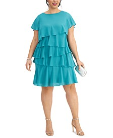 Plus Size Chiffon Tiered Dress