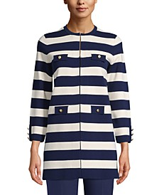 Striped Button-Front Jacket