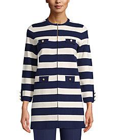 Anne Klein Striped Button-Front Jacket