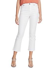Raw-Hem Mid-Rise Crop Skinny Jeans
