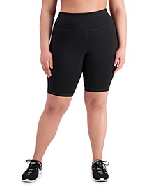 Plus Size Side-Pocket Bike Shorts, Created for Macy's