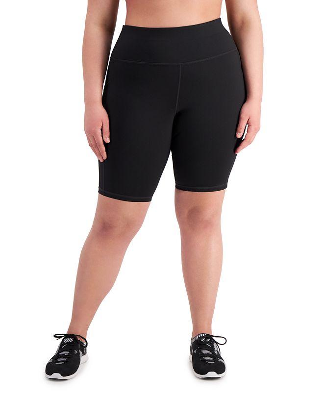 Ideology Plus Size Side-Pocket Bike Shorts, Created for Macy's