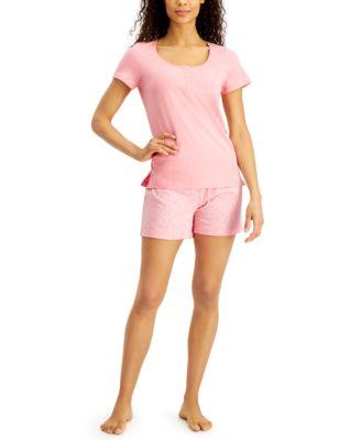 Henley & Shorts Cotton Pajama Set, Created for Macy's